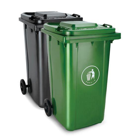 街道保洁120L/240L塑料钢材垃圾桶 带滑轮 图片二