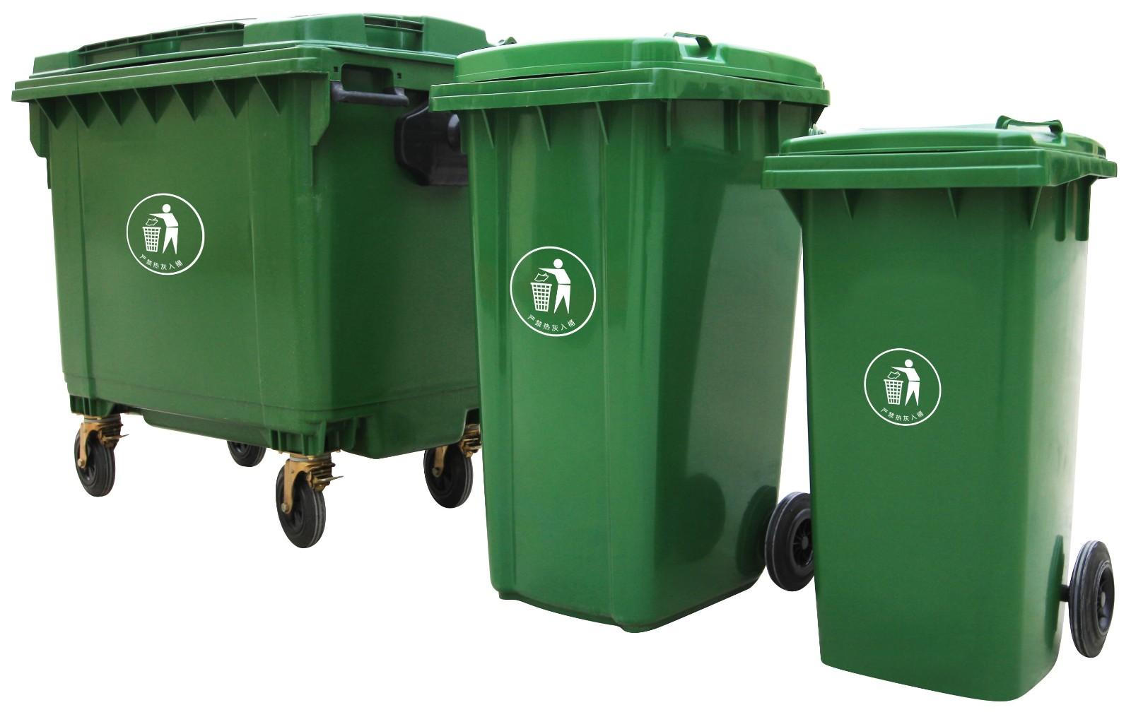 街道保洁120L/240L塑料钢材垃圾桶 带滑轮 图片四