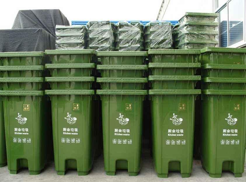 街道保洁120L/240L塑料钢材垃圾桶 带滑轮 图片一